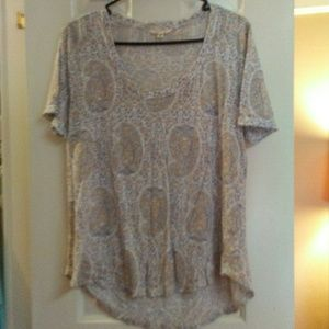 Lucky Brand High Low Peasant Blouse Paisley
